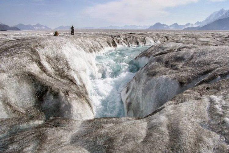 A moulin cuts through Bering Glacier.