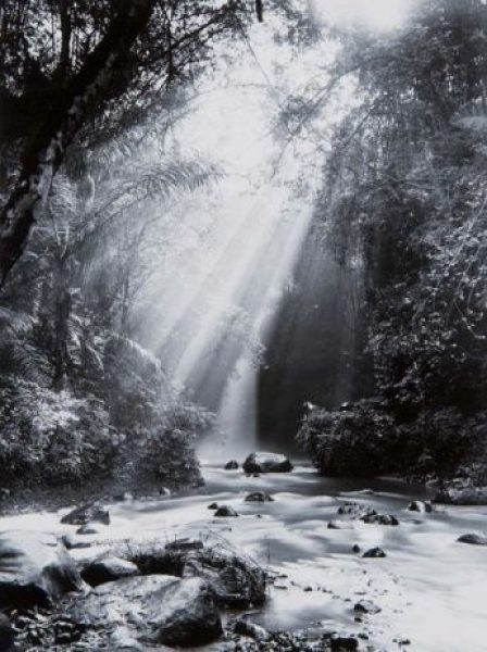 Crepuscular rays at the Dago Waterfall near Bandung, 1920s or 1930s