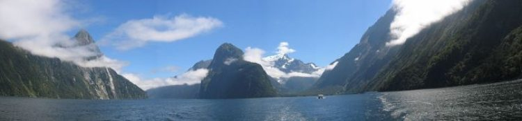 A Beautiful Panorama View of the Milford Sound on a sunny day