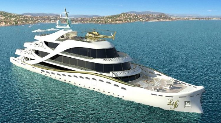 There are five decks and a lift to get you from one to another, as well as a helicopter landing pad on the roof... although a gold helicopter is not included