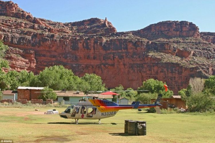 Some visitors opt to arrive by helicopter to see the stunning Havasu Falls and learn about the tribe