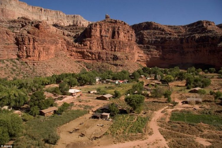 The Indian village of Supai is concealed at the bottom of Havasu Canyon, in the heart of the Havasupai Nation reservation