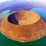 Nabiyotum Crater, in Lake Turkana, Kenya,