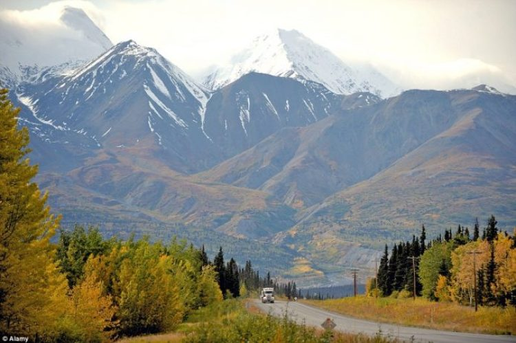 Drive on a highway through snow-capped mountains, which is particularly captivating in autumn with the striking golden colours