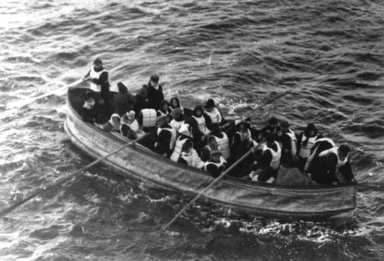 Titanic lifeboat D, awaiting rescue by the RMS Carpathia