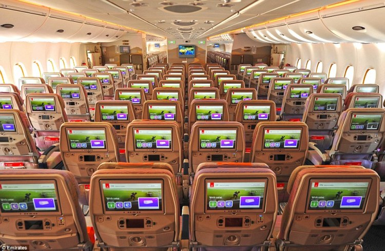 Emirates' new Airbus A380 has two classes - business and economy - and will hold a staggering 615 passengers in both cabins
