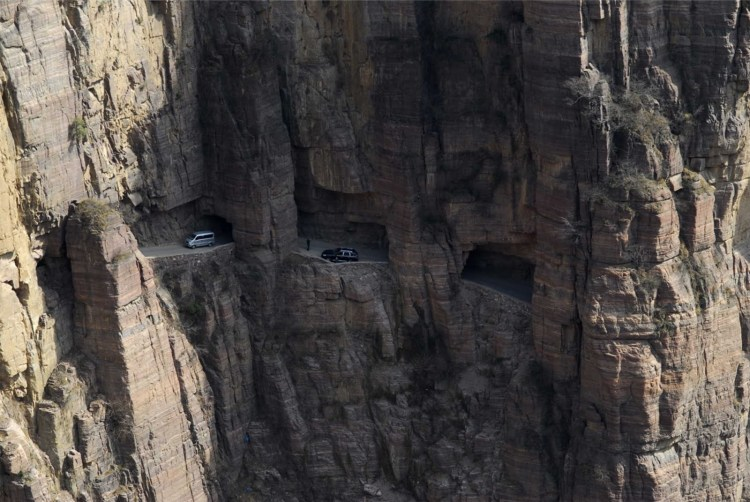 , the windows are frightening to look down where strange rocks hanging above from sheer cliff.