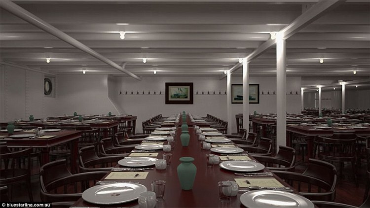 Passengers who book a ticket in third class will eat their meals in a communal-style setting with long tables that can seat about a dozen