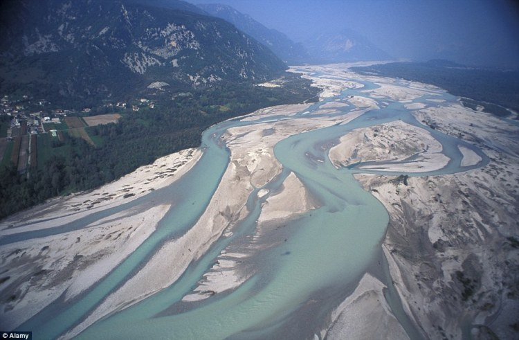 One of Europe's most impressive braided rivers is the Tagliamento which winds from the Alps to the Adriatic Sea at a point between Trieste and Venice