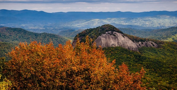 The Looking Glass Rock is located in the Pisgah National Forest near Brevard, of Western North Carolina.