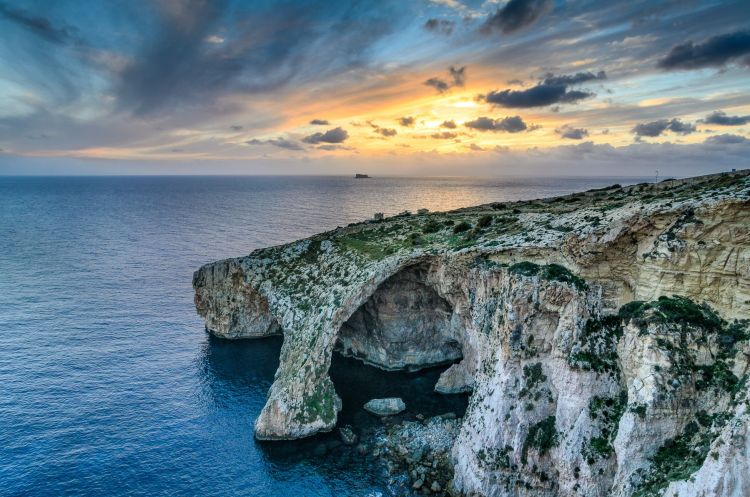 Stunning view of Blue Grotto Sunset