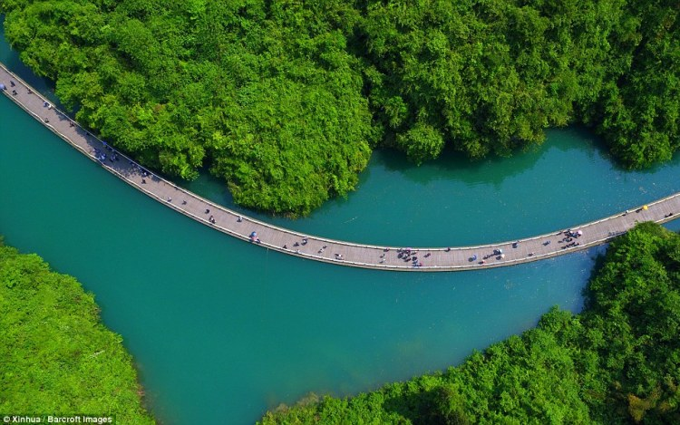 Scenic route (pictured) in Shiziguan, Hubei,