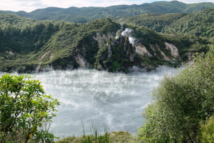 Frying Pan Lake is a fantastic spot in Waimangu, where you can enjoy self-guided nature walks, amazing landscape, geysers, lakes, volcanic craters, bird life, plants and breathtaking adventure.