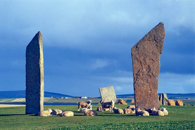 The Standing Stones of Stenness form part of the Heart of Neolithic Orkney World Heritage site in December 1999.