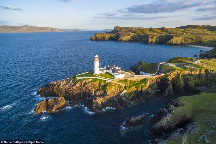 Using a drone the photographer clicked away to capture the white lighthouse of Fanad (above), County Donegal, Republic of Ireland