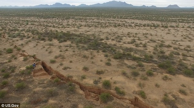 It is the first time drones have been used to examine desert fissures