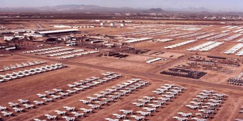 This is the Davis-Monthan Air Force Base, commonly known as The Boneyard, where the 309th Aerospace Maintenance and Regeneration Group (AMARG) take care of disused fighter jets and warplanes.