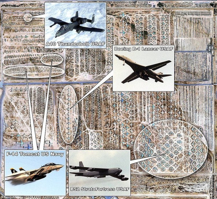 The Boneyard contains everything from cargo lifters to bombers, A10 Thunderbolts, Hercules freighters and the F-14 Tomcat fighters
