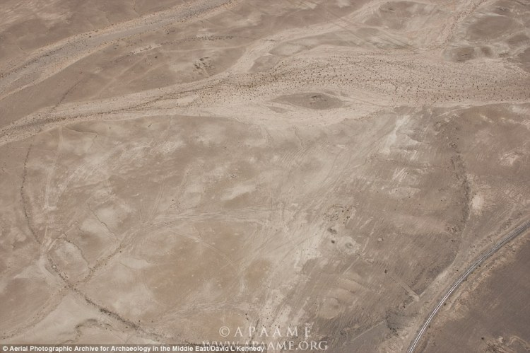 The site of J4 (pictured) lies 820ft (250 metres) east of the Desert Highway. It is described as having a wall 8 inches (20cm) high with five different features and seven breaks in the perimeter.