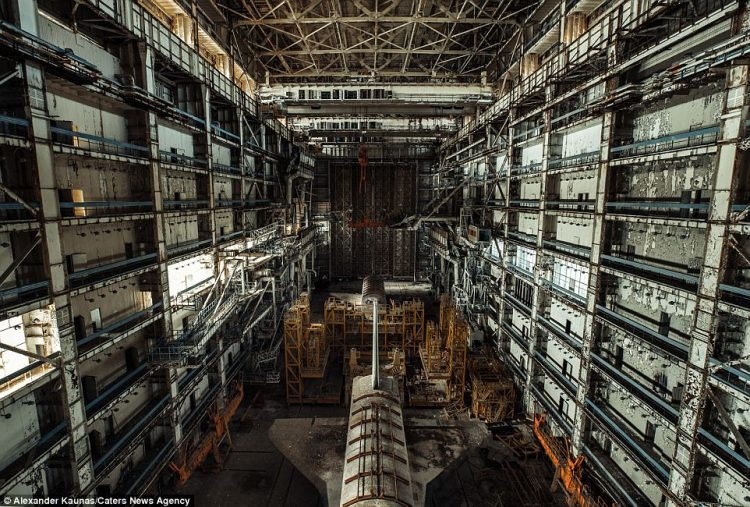 The test shuttle explorers were found inside a derelict Soviet warehouse near the Cosmodrome Baikonur, 125 miles east of the Aral Sea