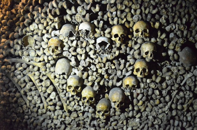 This is easily called Paris' most macabre sight is its underground tunnels lined with skulls and bones.