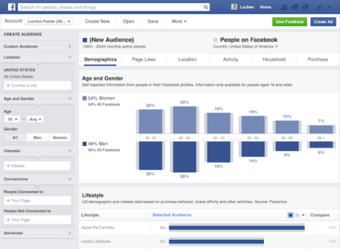 Graphs on Facebook audience insight