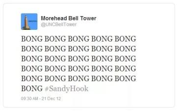 UNC Bell Tower Newtown Tweet 12.21.12