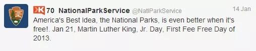 National Park Service MLK Tweet