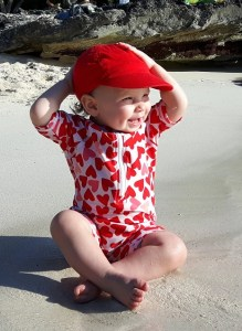 happy baby in paradise