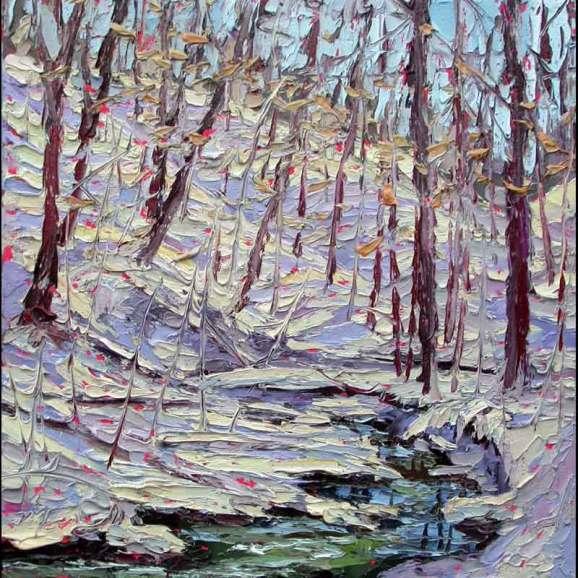 Plein air oil painting winter snow plein air studio oil paintings by Charlene Marsh 011416 12x12_plein_air_oil_painting_charlene_marsh_splish_splosh_snow_melting_in_the_forest