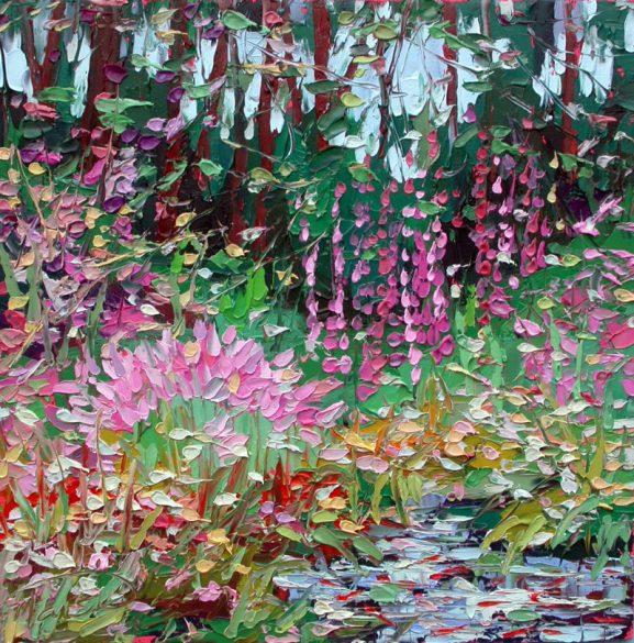 "plein air studio oil paintings by Charlene Marsh Magic Lilies and Hollyhocks, oil painting, 12"" x 12"""
