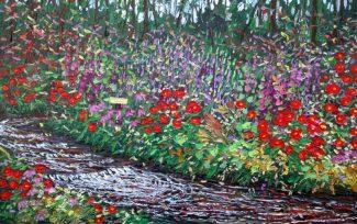 "Flowers Galore, oil on panel, 26"" x 40"", by Charlene Marsh"