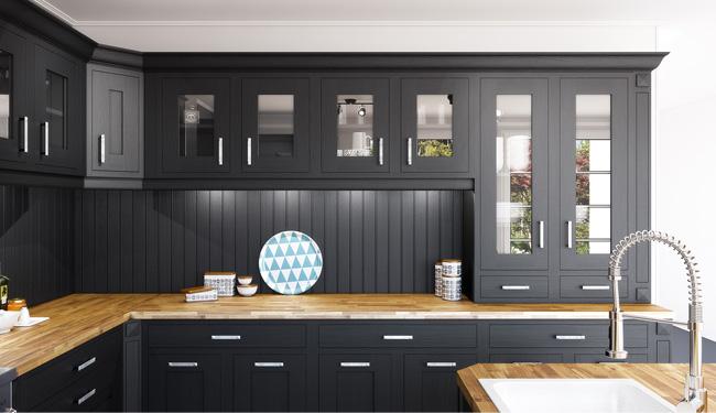 meubles hauts vitrines pour une cuisine style campagne chic