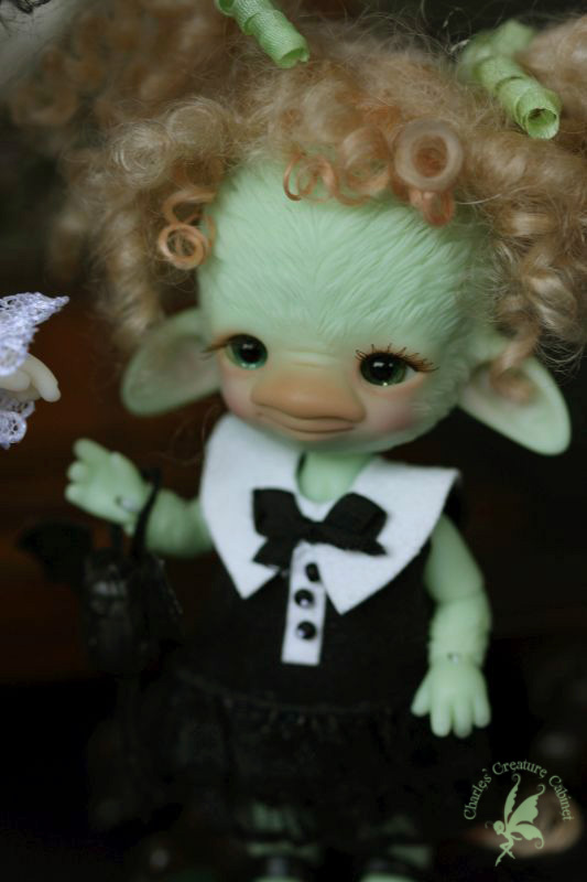 SOLD OUT OOAK Aggie Pebbles Green  Ugly Woodling Troll