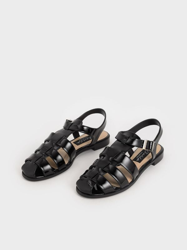 Patent Leather Caged Sandals, Black, Charles & Keith