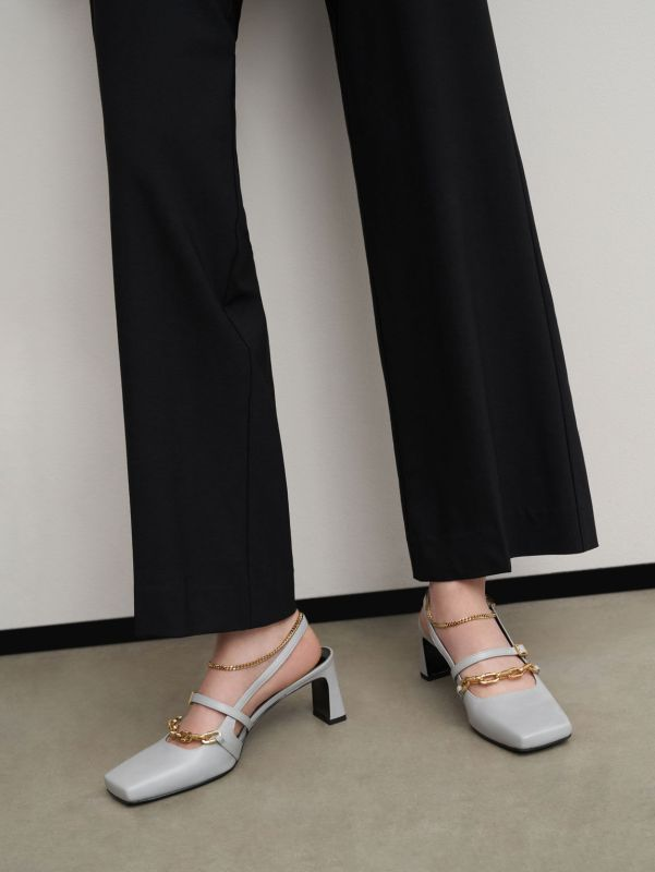 Chain-Link Slingback Pumps, Light Grey, Charles & Keith