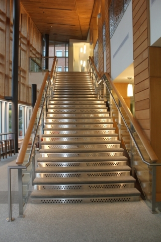 UNH Paul Hall  Durham NH  Metals Fabrication and Erection Steel Stairs Rails Glass