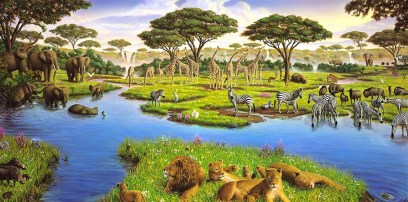 African Watering Hole 1989, oil on canvas.