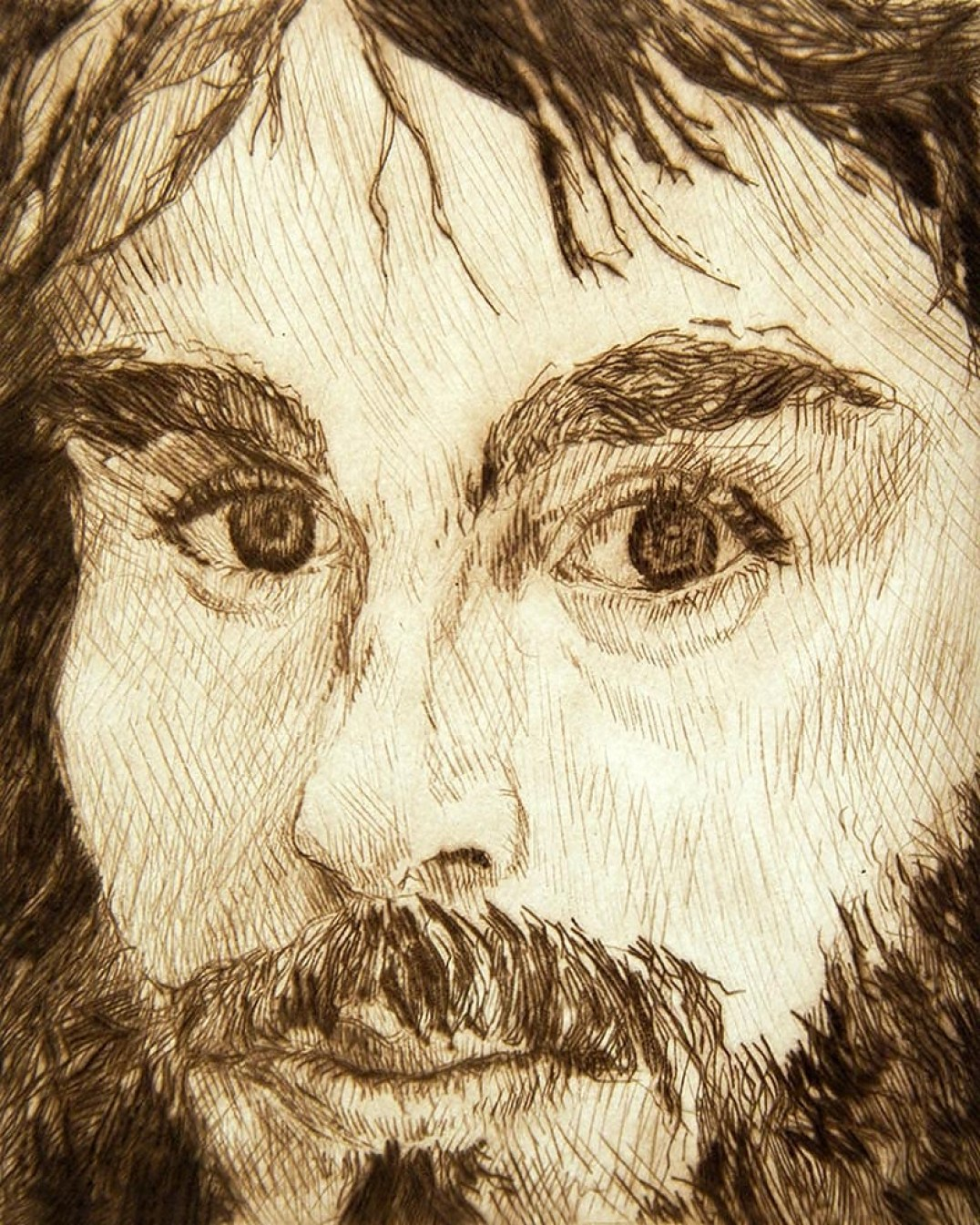 Self Portrait, drypoint