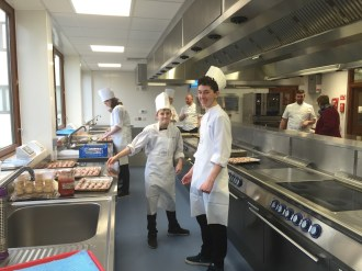 Kitchen students getting ready