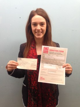 Crystal Williams with the cheque for BHF