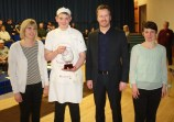 Ronan with Acting PT of HE Alison Fraser, Rector Chris O'Neill and Helen Young, Director of Highland Wholefoods, one of the event sponsors.