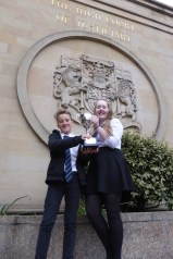 Cameron & Morven outside the High Court of the Justiciary in Glasgow