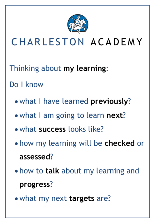 Our Learning Poster is displayed in every classroom and teaching space.