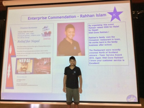 Rahhan's enterprising success was highlighted at a recent assembly. Well done.