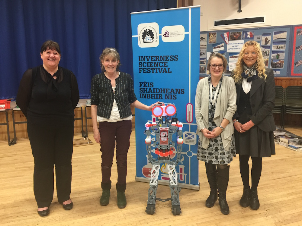 Janette Taylor, Pam Hamilton, Dr Evelyn Gray & Dr Margaret Ritchie with the Mechanoid