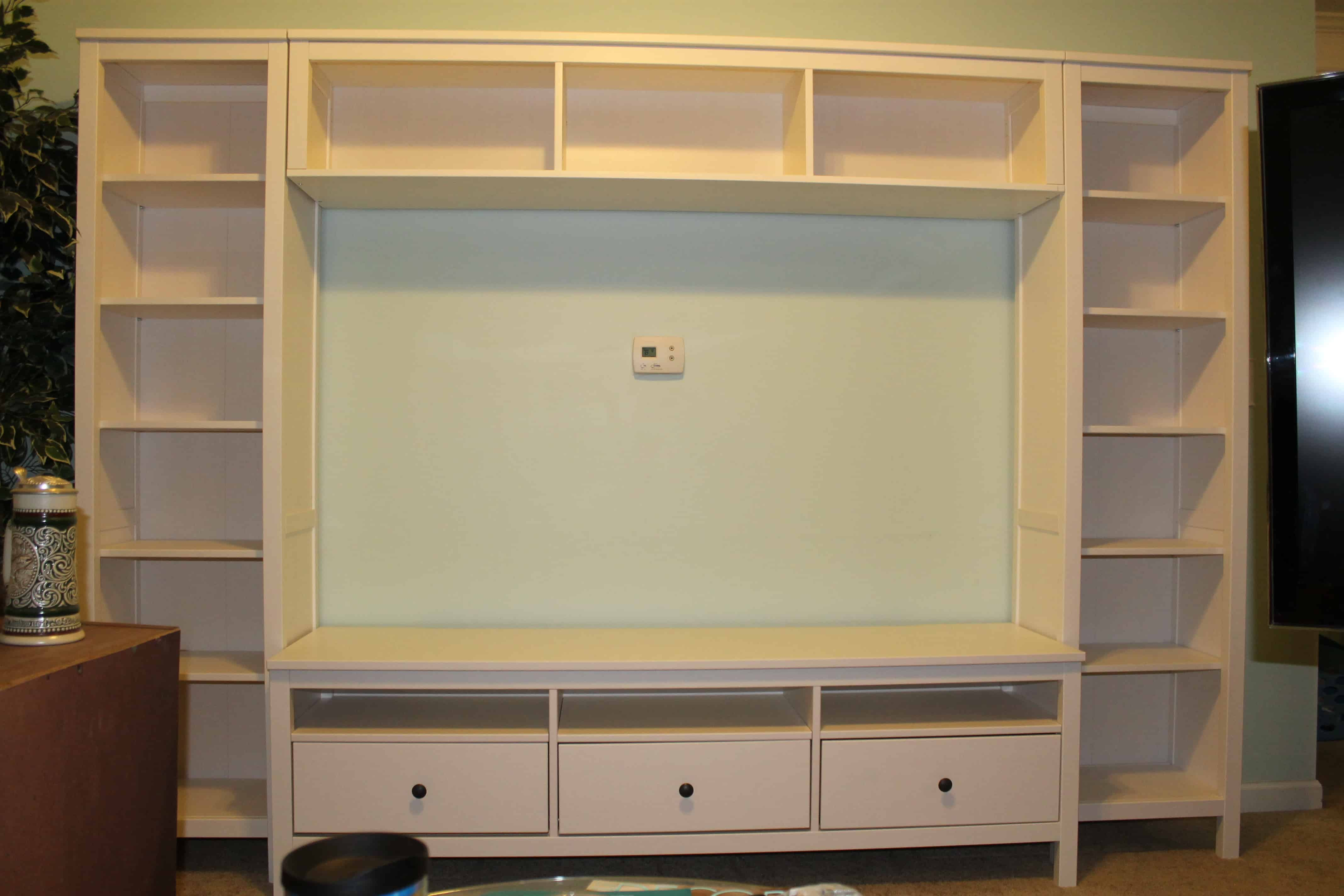 Ikea hemnes entertainment center - Our Tv Was Just Too Big For The Next Smallest Sized Stand So There Is A Bit Of Extra Room Around The Tv I Said That Means Its Time To Head To