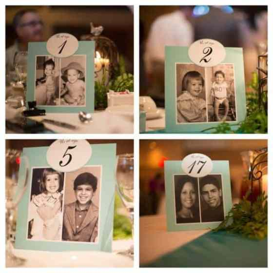Bride and Groom Age Photograph Table Numbers - Charleston Crafted