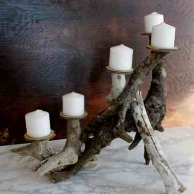 DIY Driftwood Candle Centerpiece