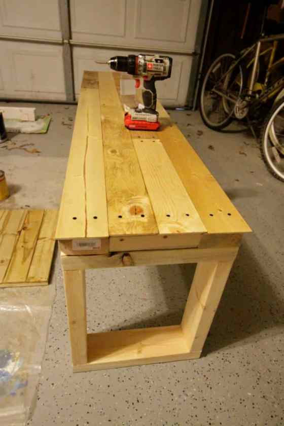 DIY Knock Off Faux Reclaimed Wood Emmerson West Elm Benches - Charleston Crafted